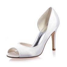 Women's Satin Stiletto Heel Peep Toe Sandals (047074154)
