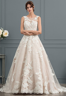 Ball-Gown/Princess Illusion Court Train Tulle Wedding Dress With Beading Sequins (002153423)