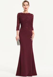 Trumpet/Mermaid Scoop Neck Floor-Length Stretch Crepe Evening Dress (017186138)