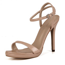 Women's Patent Leather Stiletto Heel Sandals Pumps Peep Toe Slingbacks With Buckle shoes (087154474)