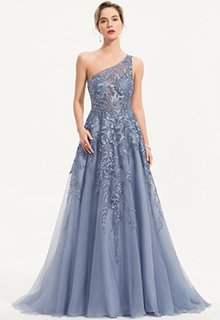 A-Line One-Shoulder Sweep Train Tulle Evening Dress (017186127)
