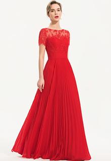A-Line Scoop Neck Floor-Length Chiffon Evening Dress (017186130)