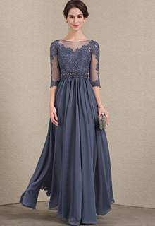 A-Line/Princess Scoop Neck Floor-Length Chiffon Lace Mother of the Bride Dress With Beading Sequins (008143370)