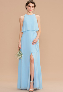 A-Line Scoop Neck Floor-Length Chiffon Bridesmaid Dress With Split Front Cascading Ruffles (007176751)