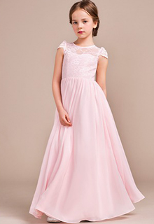 A-Line/Princess Floor-length Flower Girl Dress - Chiffon/Lace Sleeveless Scoop Neck (010096124)