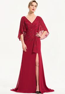 Sheath/Column V-neck Sweep Train Chiffon Evening Dress With Beading Sequins Split Front (017186154)