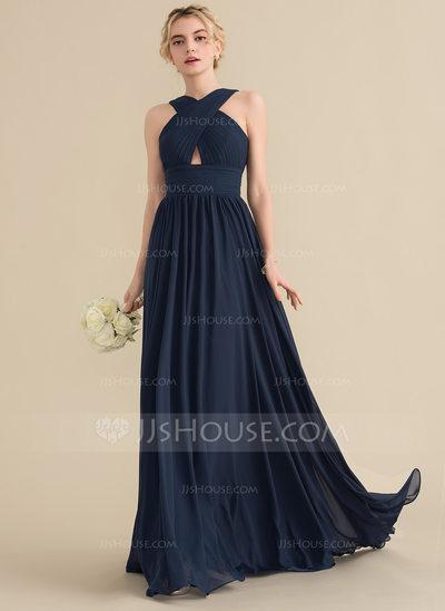 A-Line/Princess V-neck Sweep Train Chiffon Bridesmaid Dress ...