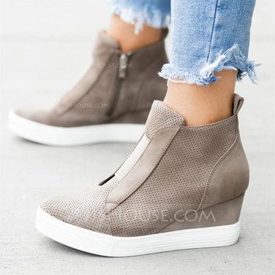 Women's Suede Wedge Heel Platform Wedges With Zipper shoes (...
