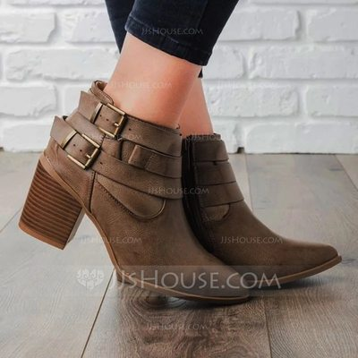 Women's PU Chunky Heel Boots With Buckle shoes (088211158)...