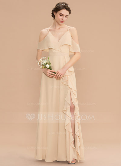 A-Line V-neck Floor-Length Chiffon Bridesmaid Dress With Bow...