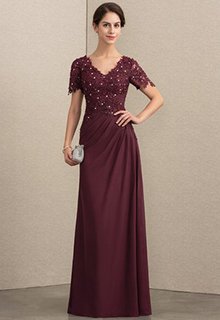 A-Line V-neck Floor-Length Chiffon Lace Mother of the Bride Dress With Beading (008164072)