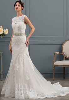 Trumpet/Mermaid Scoop Neck Court Train Tulle Wedding Dress (002134809)