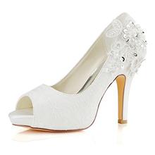 Women's Silk Like Satin Stiletto Heel Peep Toe Pumps Sandals With Stitching Lace (047163608)