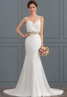 Trumpet/Mermaid V-neck Court Train Stretch Crepe Wedding Dress With Beading (002127278)
