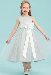 A-Line/Princess Tea-length Flower Girl Dress - Satin/Tulle Sleeveless Scoop Neck With Bow(s) (010143241)