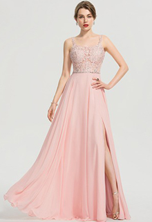A-Line Square Neckline Floor-Length Chiffon Prom Dresses With Beading Sequins Split Front (018192337)