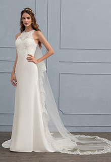 Sheath/Column Scoop Neck Sweep Train Chiffon Wedding Dress (002118438)