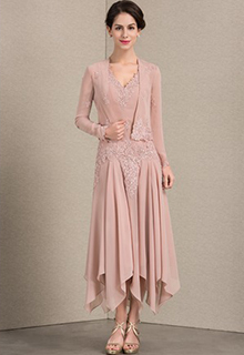 A-Line/Princess V-neck Ankle-Length Chiffon Mother of the Bride Dress With Appliques Lace Sequins (008143368)