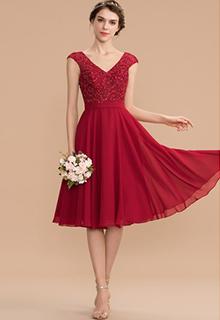 A-Line V-neck Knee-Length Chiffon Lace Bridesmaid Dress With Beading (007165871)