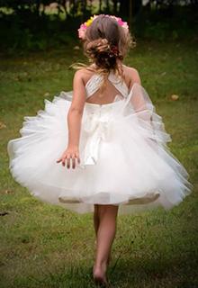 Ball-Gown/Princess Knee-length Flower Girl Dress - Tulle Sleeveless Straps (010089505)