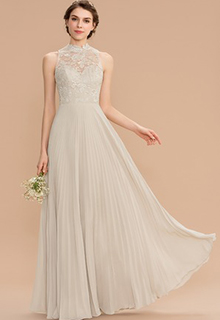 A-Line Scoop Neck Floor-Length Chiffon Lace Bridesmaid Dress With Pleated (007165828)
