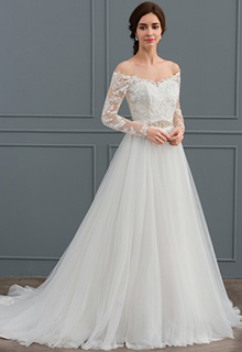 Ball-Gown Off-the-Shoulder Court Train Tulle Wedding Dress With Beading (002127280)