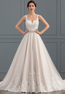 Ball-Gown Sweetheart Court Train Tulle Lace Wedding Dress With Beading (002134390)