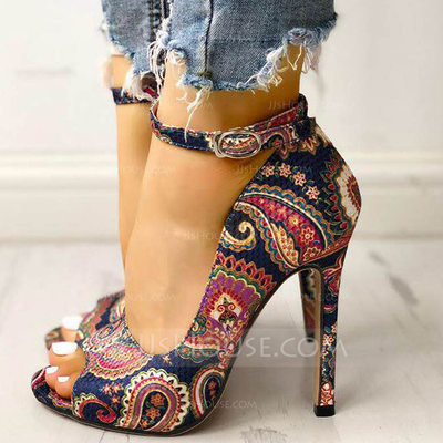 Women's Fabric Stiletto Heel Pumps Peep Toe With Buckle shoe...
