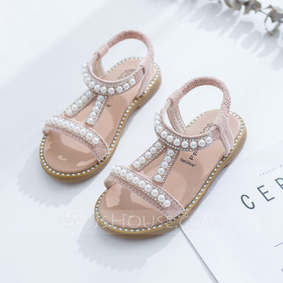 Girl's Peep Toe Slingback Leatherette Flat Heel Sandals Flat...