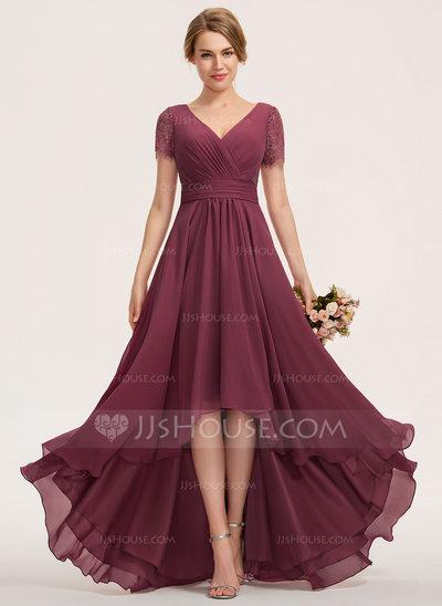 A-Line V-neck Asymmetrical Chiffon Lace Bridesmaid Dress Wit...