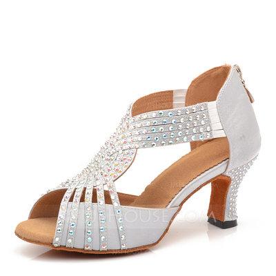 Women's Satin Heels Latin With Rhinestone Dance Shoes (05320...