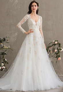 Ball-Gown/Princess Sweetheart Court Train Tulle Wedding Dress With Sequins (002187042)