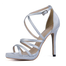 Women's Plastics Stiletto Heel Sandals Pumps Peep Toe With Buckle shoes (087154470)