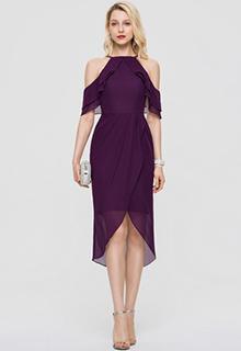 Sheath/Column Square Neckline Asymmetrical Chiffon Cocktail Dress (016197096)