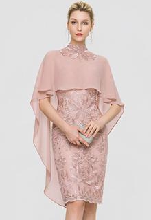 Sheath/Column High Neck Knee-Length Lace Cocktail Dress (016197117)