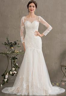 Trumpet/Mermaid Illusion Court Train Tulle Wedding Dress (002186371)