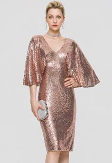 Sheath/Column V-neck Knee-Length Sequined Cocktail Dress (016197104)
