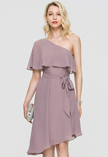 A-Line One-Shoulder Asymmetrical Chiffon Cocktail Dress With Bow(s) Cascading Ruffles (016197081)