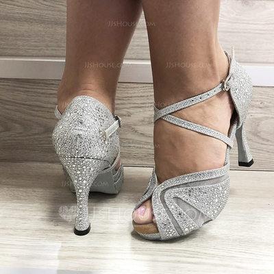 Women's Leatherette Heels Latin With Rhinestone Dance Shoes ...
