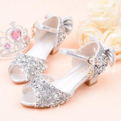 Girl's Peep Toe Leatherette Sparkling Glitter Low Heel Sanda...