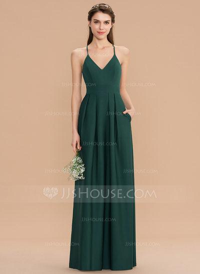 A-Line V-neck Floor-Length Stretch Crepe Bridesmaid Dress Wi...