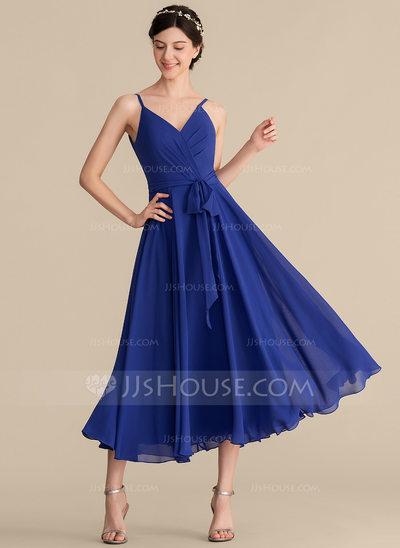 A-Line/Princess V-neck Tea-Length Chiffon Bridesmaid Dress W...