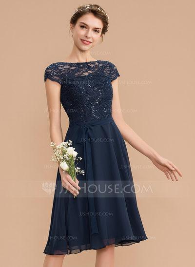 A-Line Scoop Neck Knee-Length Chiffon Lace Bridesmaid Dress ...