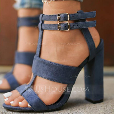 Women's Suede Chunky Heel Sandals shoes (087202483)...