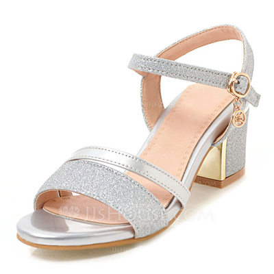 Women's Leatherette Sparkling Glitter Chunky Heel Sandals Pu...
