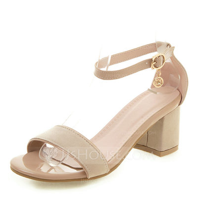 Women's Leatherette Chunky Heel Sandals Pumps Peep Toe With ...