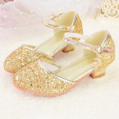 Girl's Round Toe Closed Toe Leatherette Sparkling Glitter Lo...