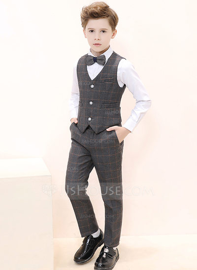 Boys 4 Pieces Plaid Ring Bearer Suits /Page Boy Suits With S...