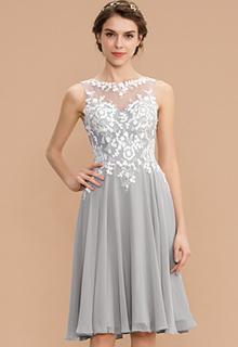 A-Line Scoop Neck Knee-Length Chiffon Lace Bridesmaid Dress (007165868)