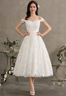 Ball-Gown/Princess Off-the-Shoulder Tea-Length Lace Wedding Dress With Bow(s) (002186382)
